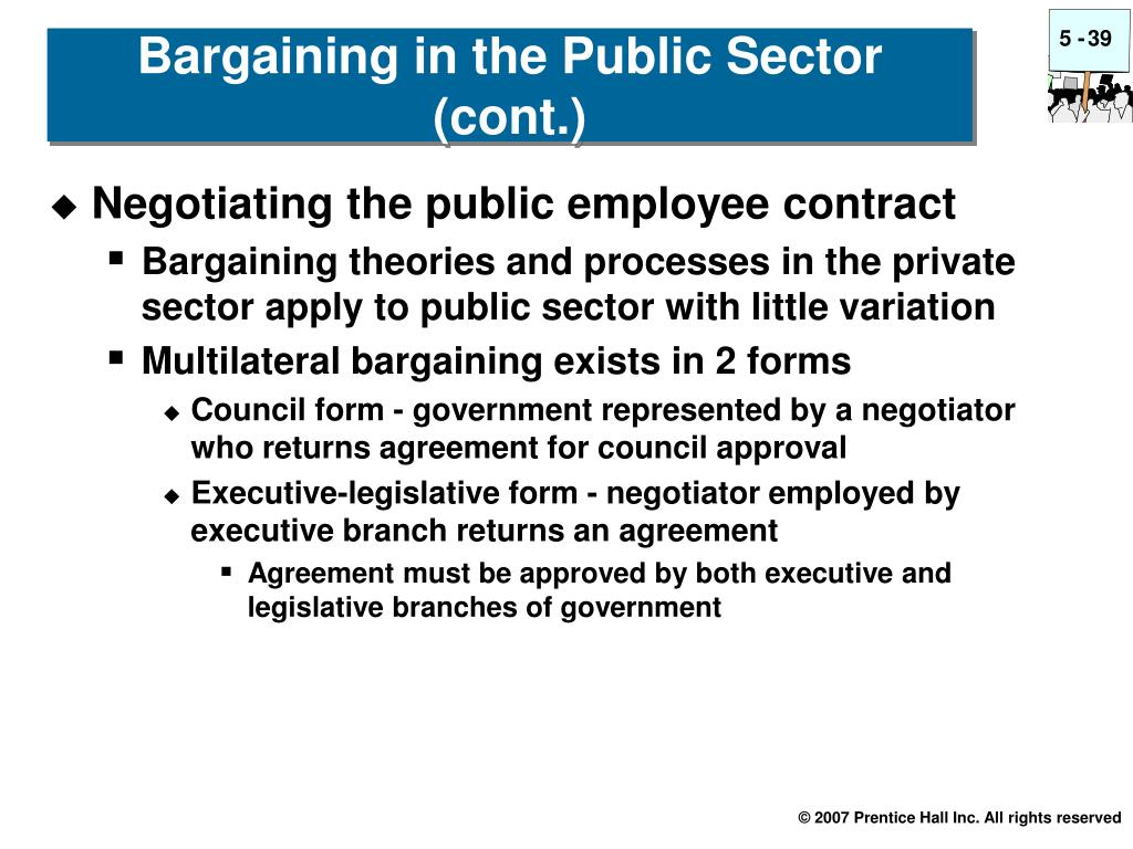 Bargaining in the Public Sector (cont.)