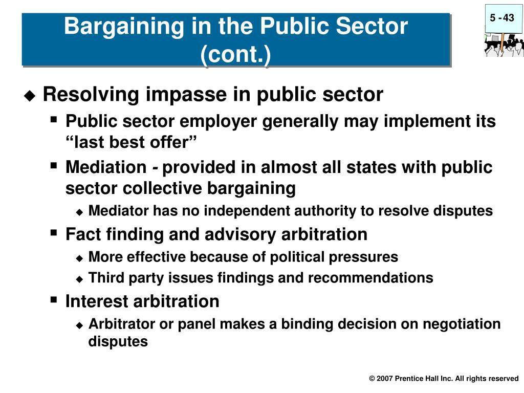 Resolving impasse in public sector