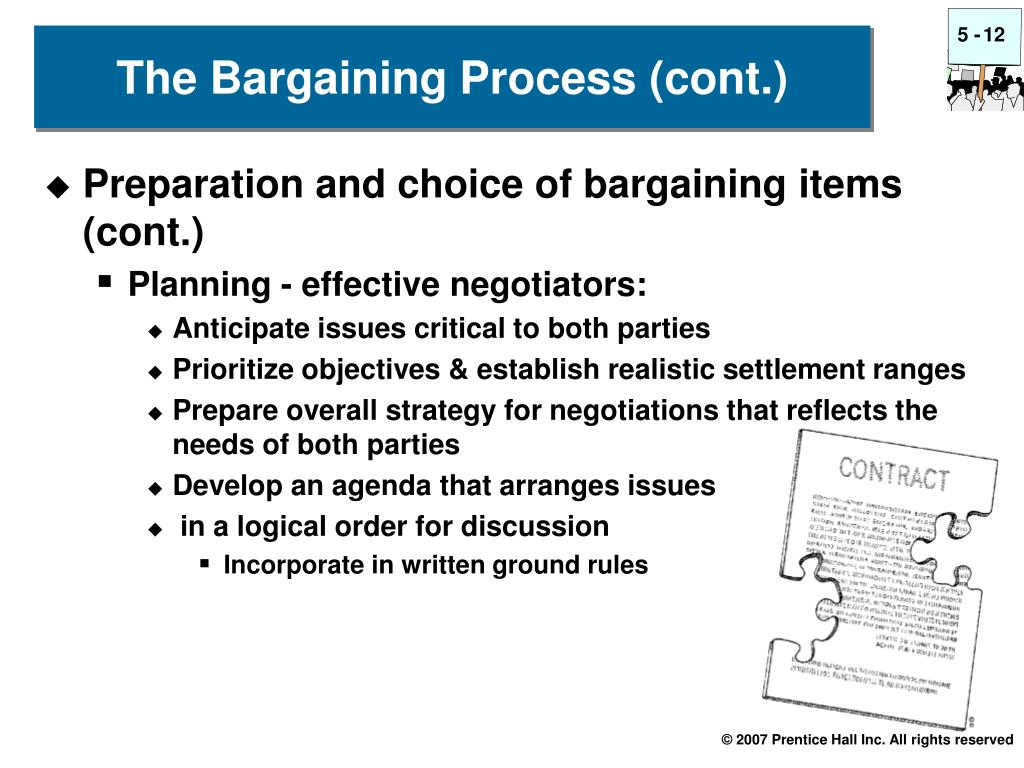 Preparation and choice of bargaining items (cont.)