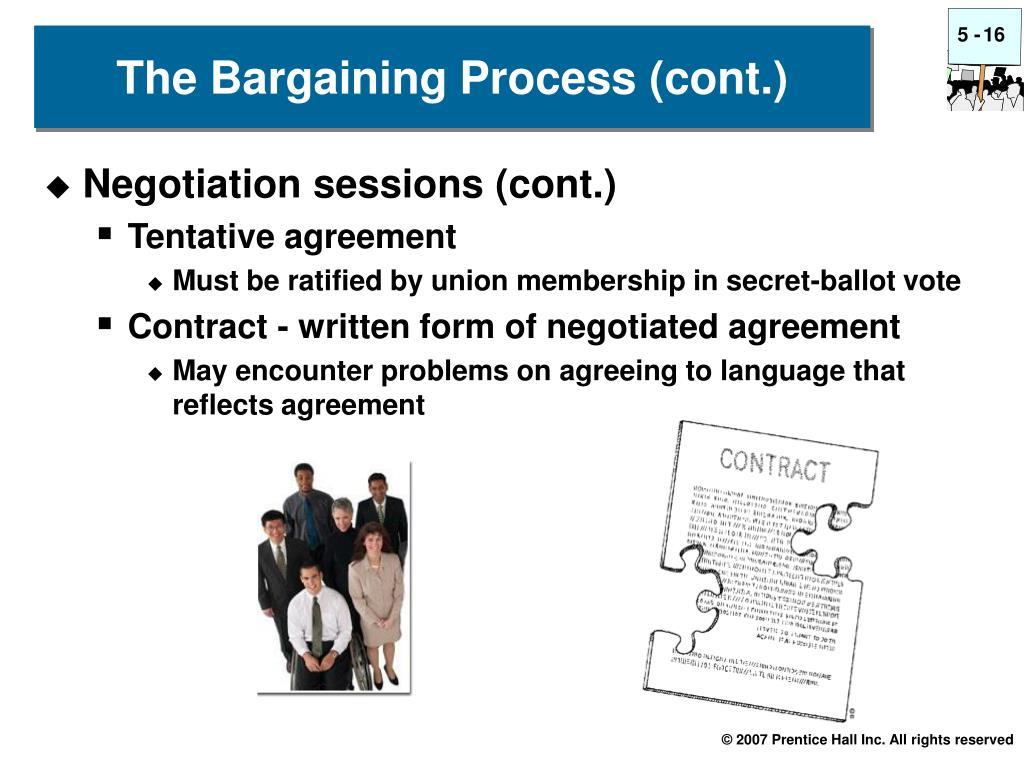 Negotiation sessions (cont.)