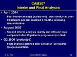 cam307 interim and final analyses