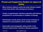 pivotal and supportive studies for approval safety