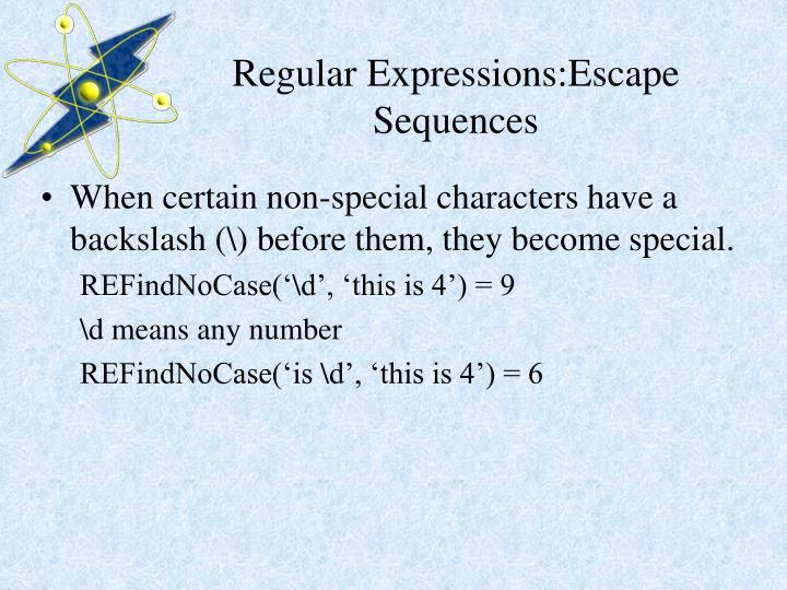Regular Expressions:Escape Sequences