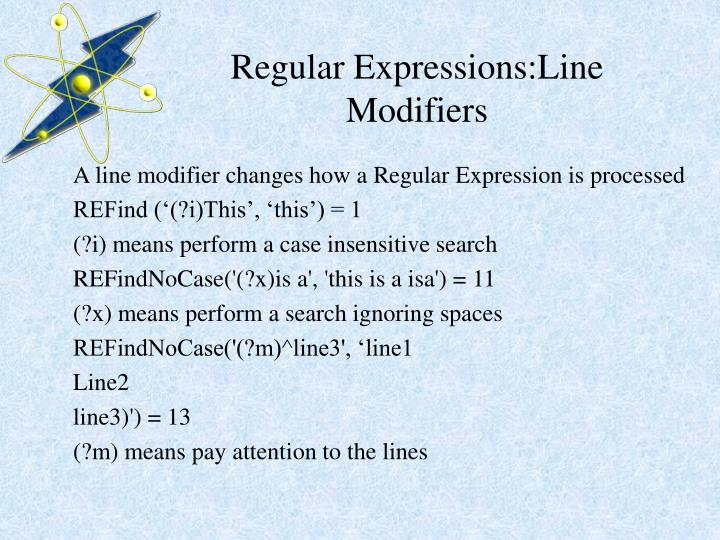 Regular Expressions:Line Modifiers