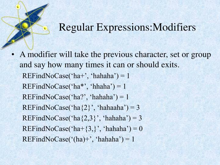 Regular Expressions:Modifiers