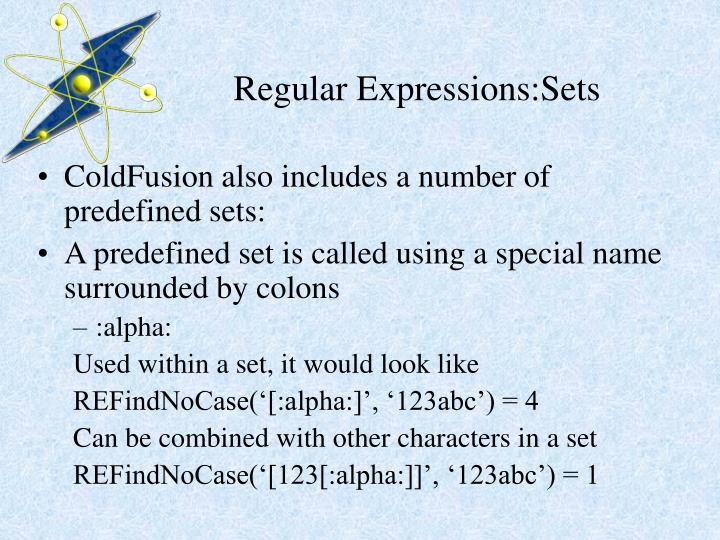 Regular Expressions:Sets