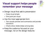 visual support helps people remember your message