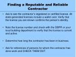 finding a reputable and reliable contractor