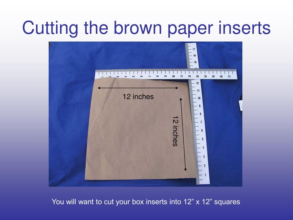 Cutting the brown paper inserts