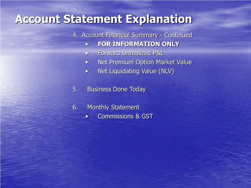 Account Statement Explanation