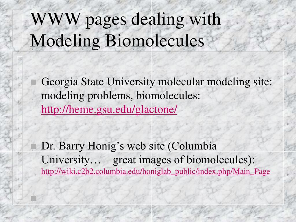 WWW pages dealing with Modeling Biomolecules