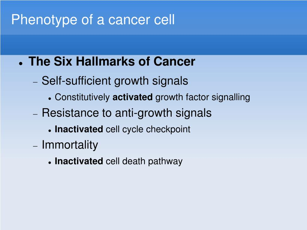 Phenotype of a cancer cell
