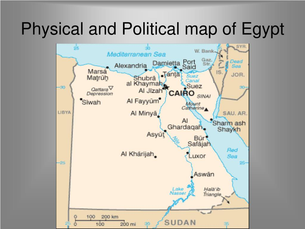 Physical and Political map of Egypt