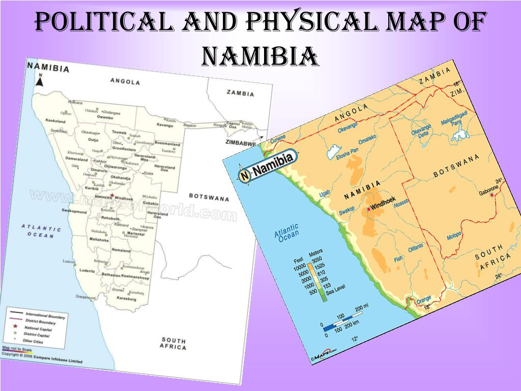 Political and Physical map of Namibia