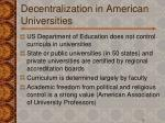 decentralization in american universities