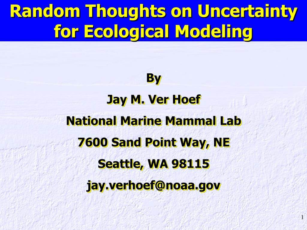 random thoughts on uncertainty for ecological modeling l.
