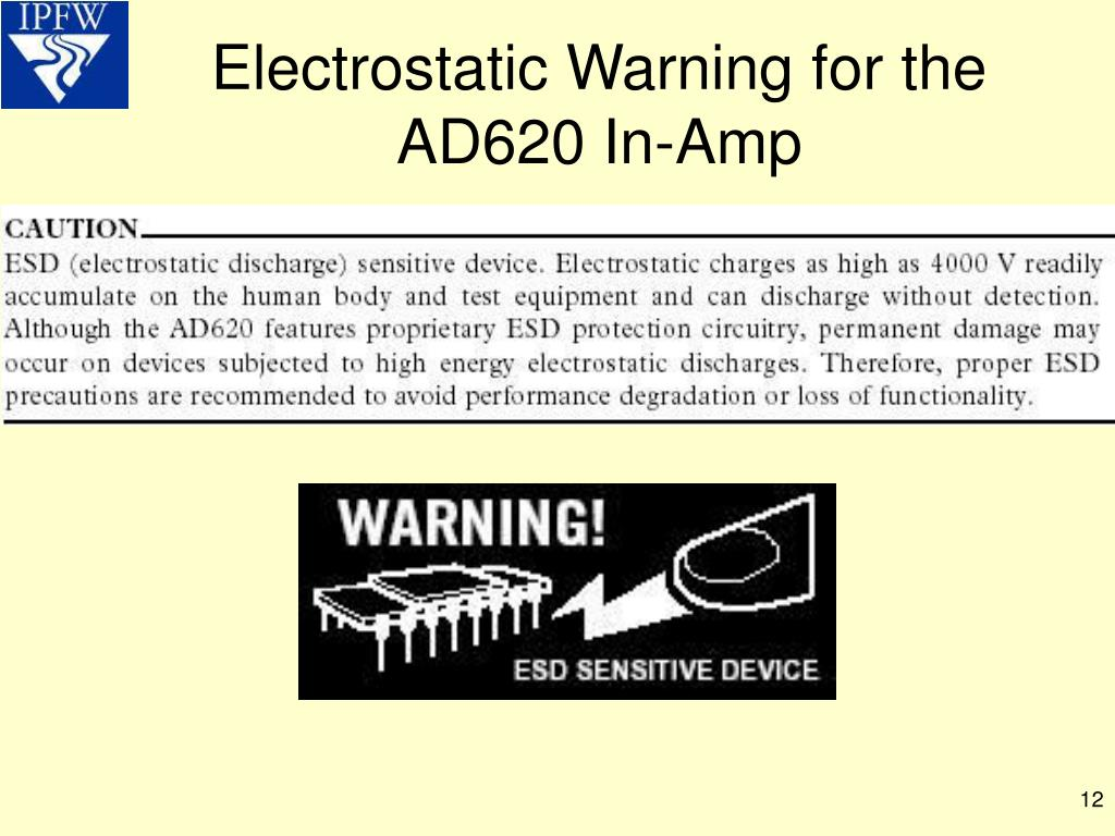 Electrostatic Warning for the AD620 In-Amp