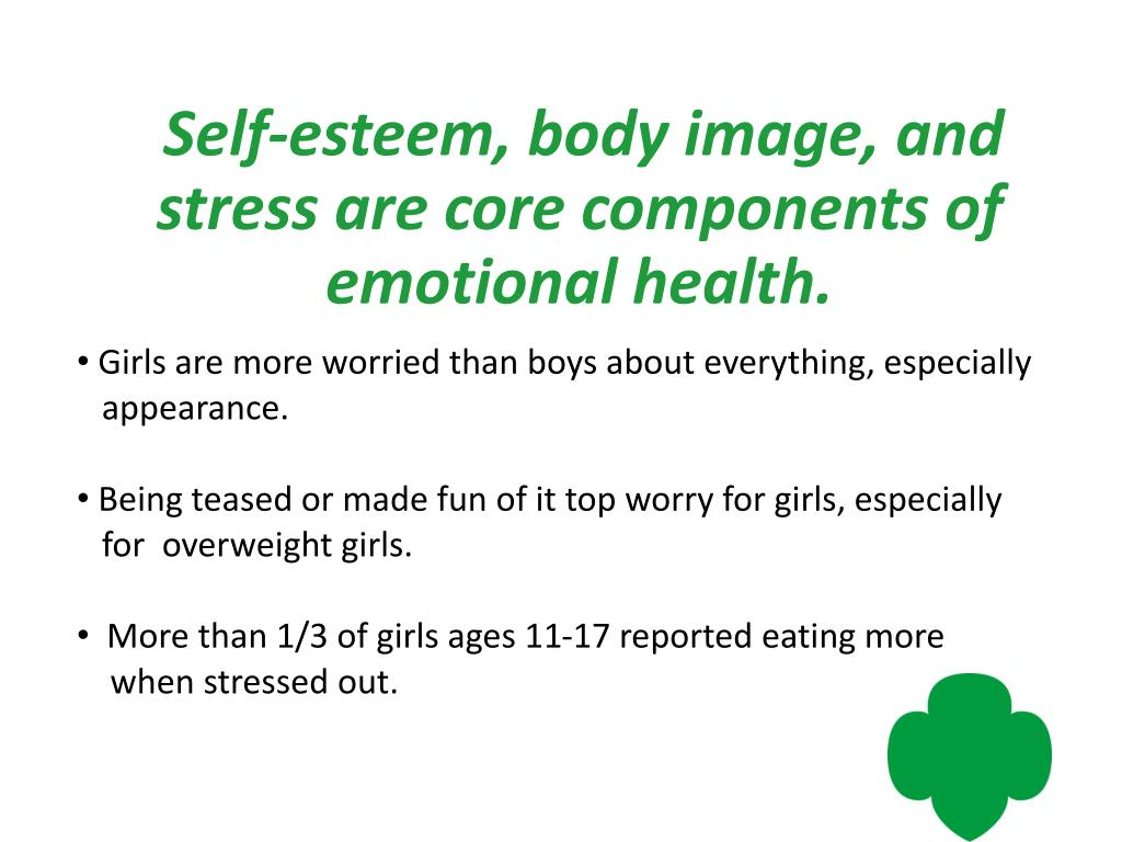 Self-esteem, body image, and stress are core components of emotional health.