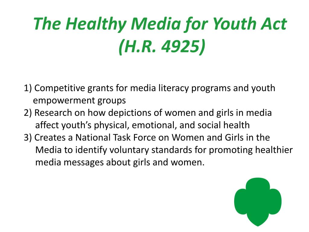 The Healthy Media for Youth Act