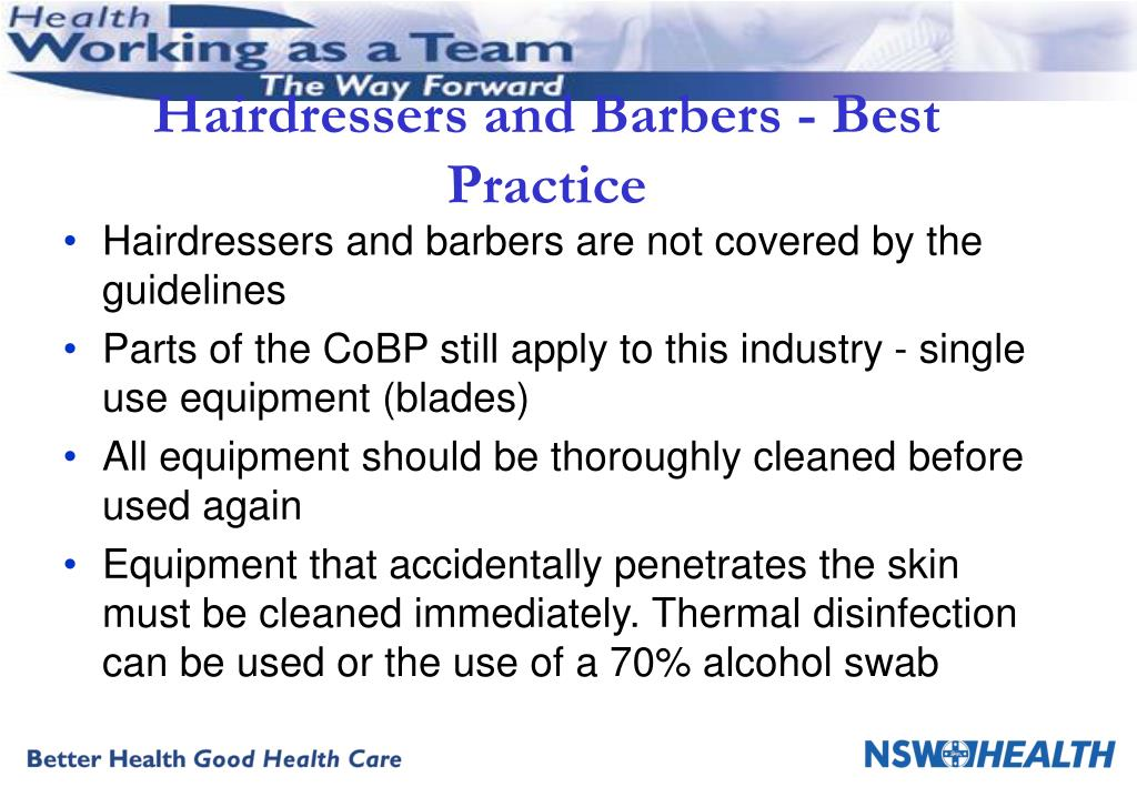Hairdressers and Barbers - Best Practice