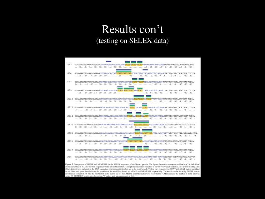Results con't