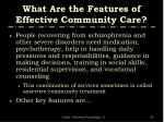 what are the features of effective community care