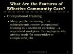 what are the features of effective community care4