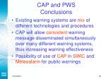 cap and pws conclusions