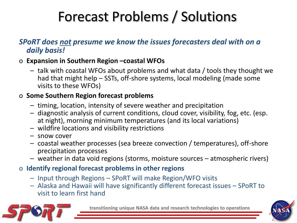 Forecast Problems / Solutions