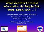 what weather forecast information do people get want need use