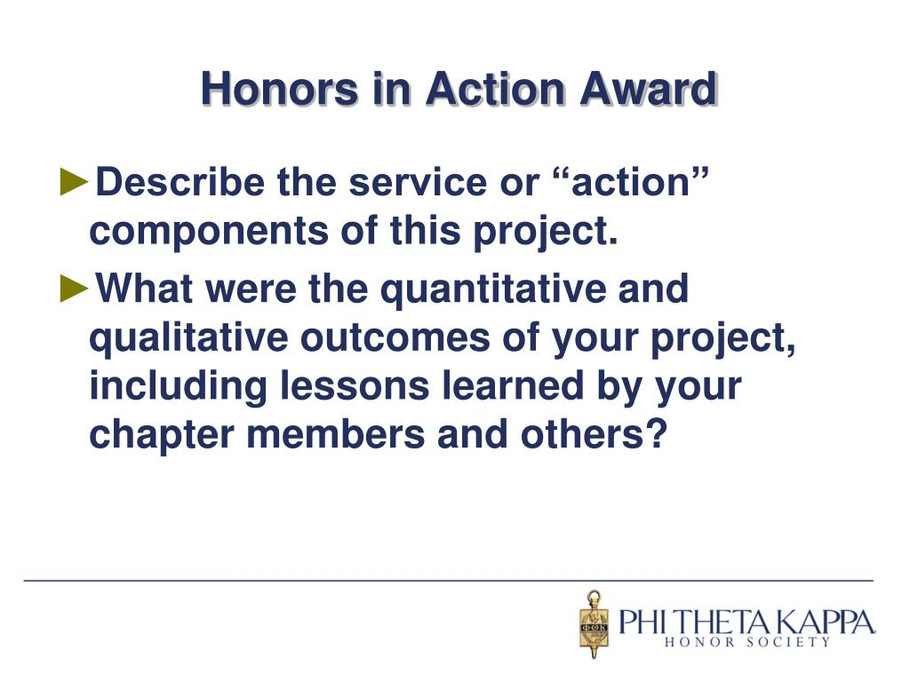 Honors in Action Award