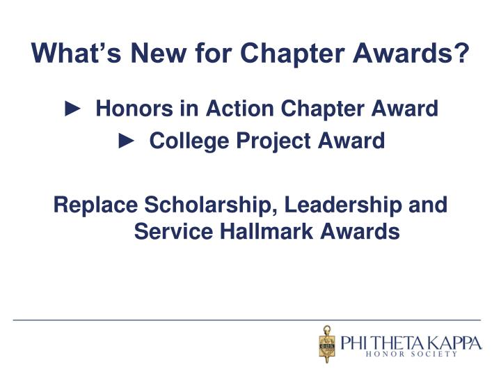 What s new for chapter awards