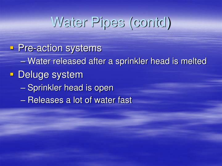 Water Pipes (contd)