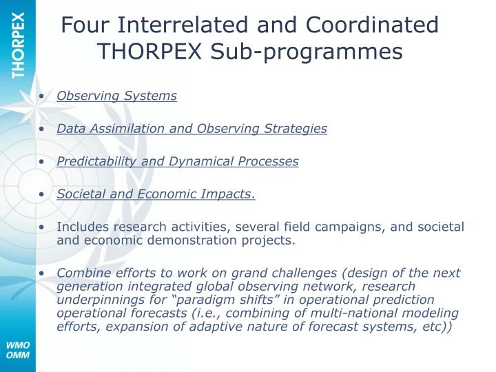 Four interrelated and coordinated thorpex sub programmes