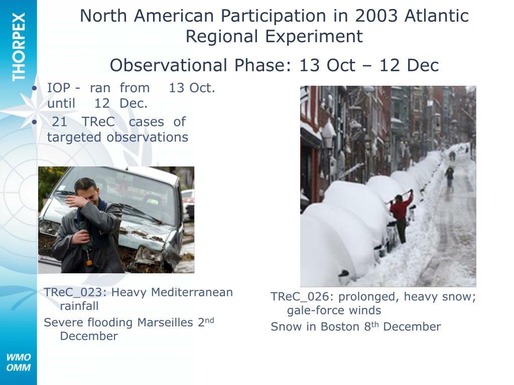 North American Participation in 2003 Atlantic Regional Experiment