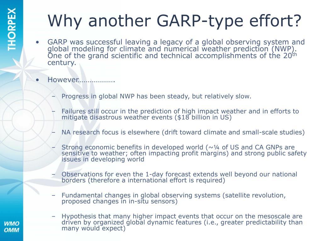 Why another GARP-type effort?