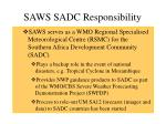 saws sadc responsibility