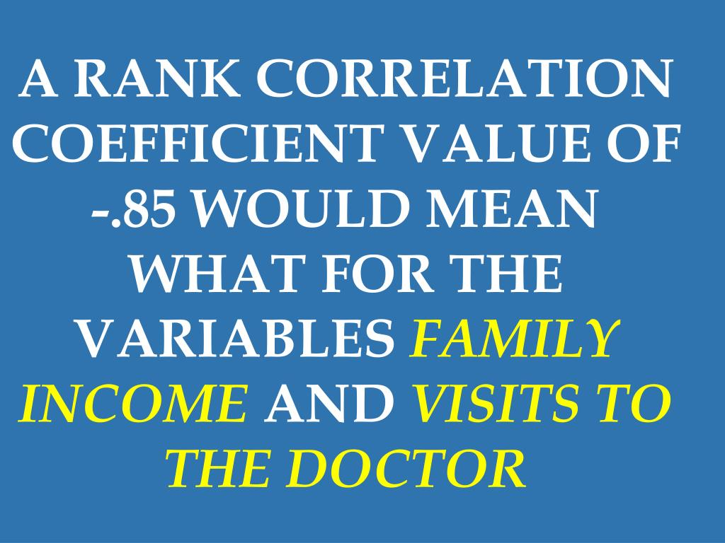 A RANK CORRELATION COEFFICIENT VALUE OF -.85 WOULD MEAN WHAT FOR THE VARIABLES