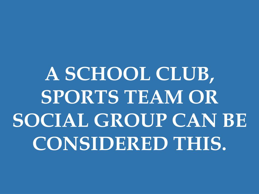 A SCHOOL CLUB, SPORTS TEAM OR SOCIAL GROUP CAN BE CONSIDERED THIS.