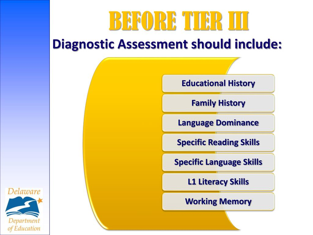 Diagnostic Assessment should include: