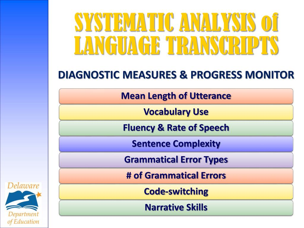 SYSTEMATIC ANALYSIS of LANGUAGE TRANSCRIPTS