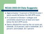 ncaa 2003 04 data suggests