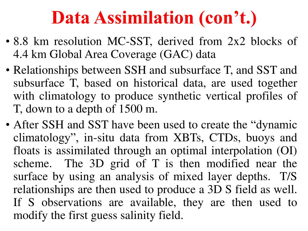 Data Assimilation (con't.)