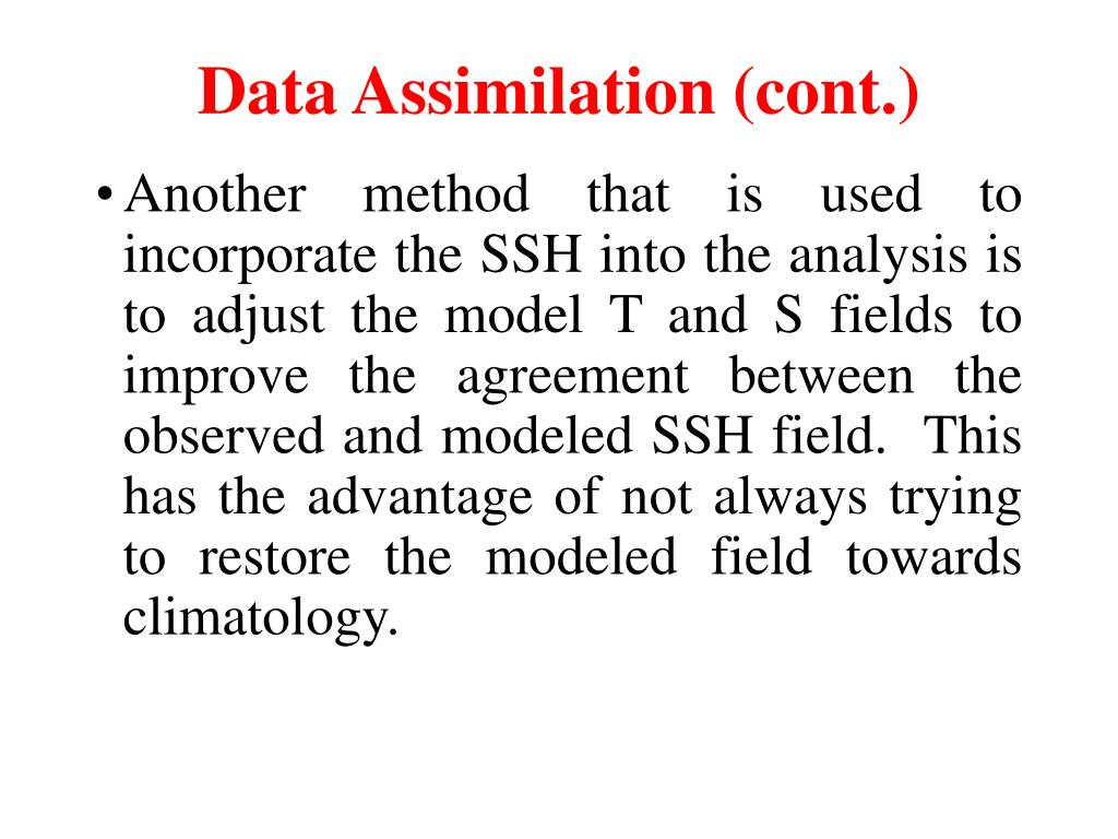 Data Assimilation (cont.)