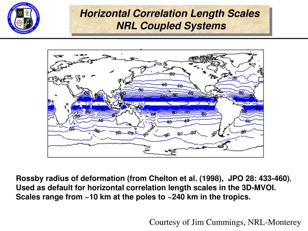 Horizontal Correlation Length Scales