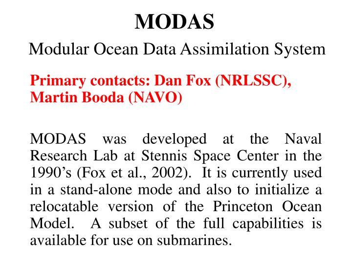 Modas modular ocean data assimilation system