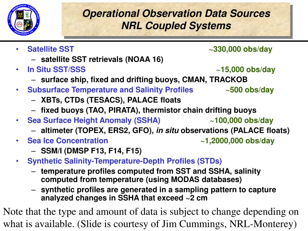 Operational Observation Data Sources