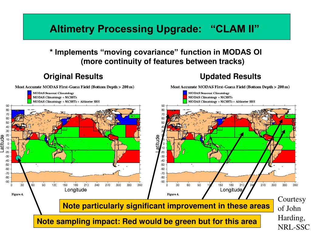 "Altimetry Processing Upgrade:   ""CLAM II"""