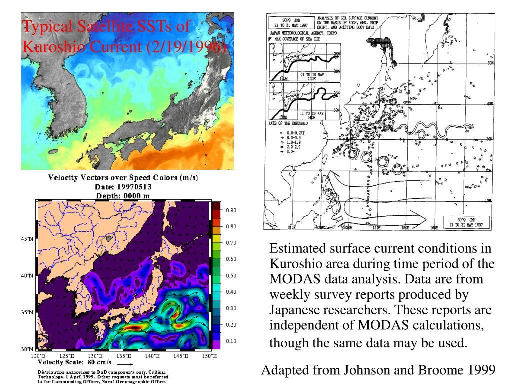 Typical Satellite SSTs of Kuroshio Current (2/19/1996)