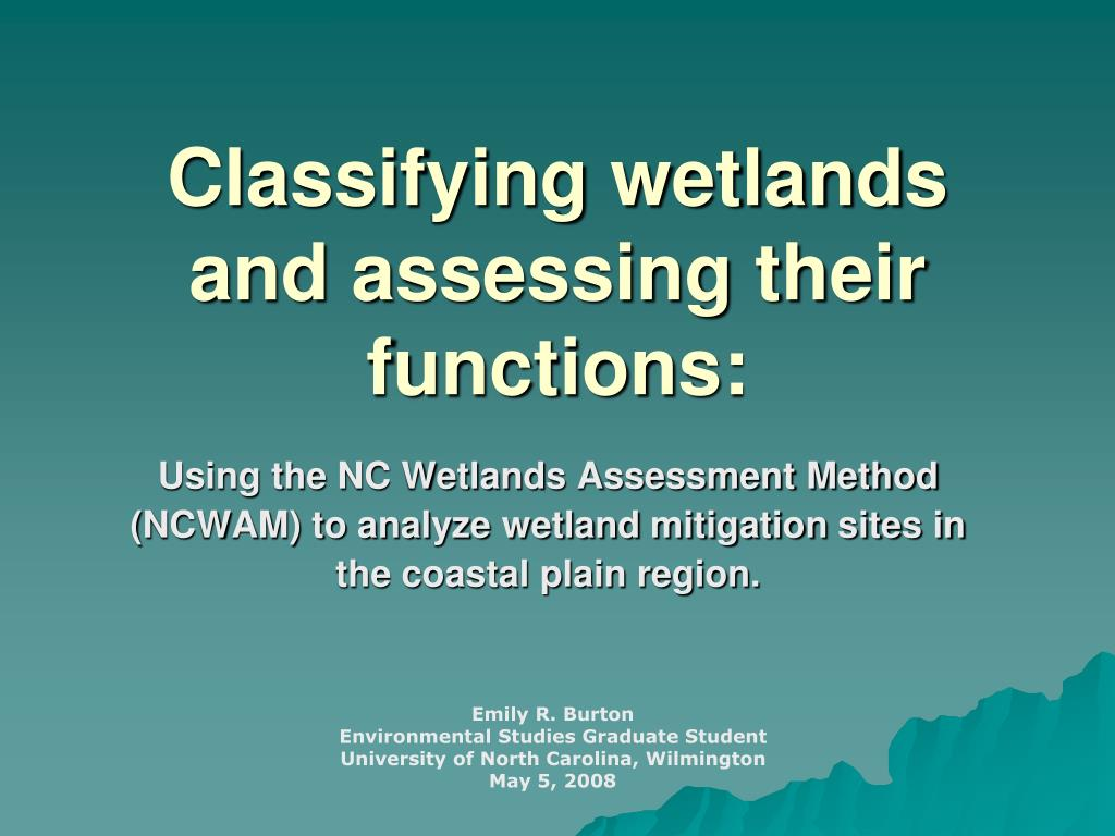 classifying wetlands and assessing their functions l.